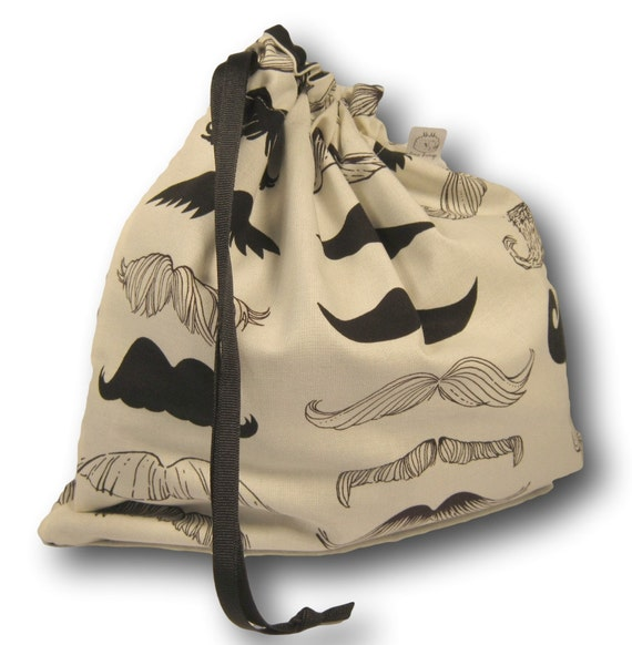 Moustache - Solo Sheepie, A Large Project Bag for Knitting, Crochet, or Cross Stitch