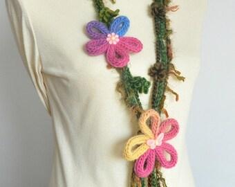Wild Plum - Pink - Handknitted and Crochet Floral Scarf/Bib