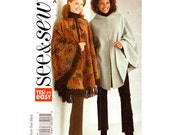 Womens Poncho Pattern Butterick 4266 Loose Fitting Poncho Tie or Button Front Cape With Hood | Womens Sewing Pattern Size 6 to 14 UNCUT