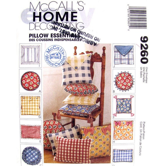 Throw Pillow Sewing Template : Pillow Cover Pattern McCalls 9260 Cushion Covers Throw Pillow