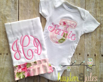 Applique Initial Baby Bodysuit Gift Set - Monogrammed Ruffle Burp Cloth - Personalized