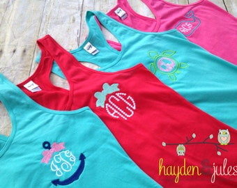 Girls Monogrammed Racer Back Tank/Swim Cover up