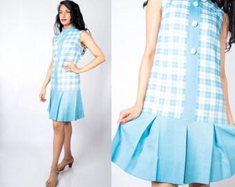 Vintage 60s Powder Blue and White Plaid Pleated Dropwaist Tennis Day Dress // Vintage Dropwaist Dress (S M 2 4 6)
