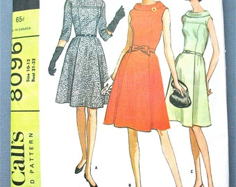 1960s McCall's 8096 Misses' OnePiece Dress Pattern  in Three Versions Fitted Bodice  Bust 3 1and 32 inches