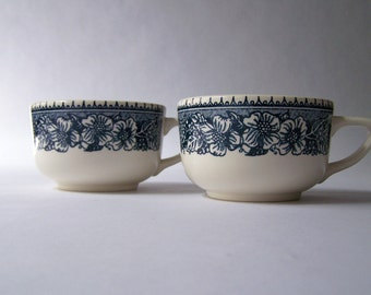 2 Vintage Coffee Cups ~ Blue and White Tea Cups ~ Vintage Kitchen