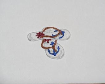 "Embroidered Iron On Applique-""Nautical Flip Flops"""