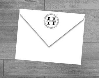 Custom Monogram Initial Wood Mounted or Self Inking Return Address Stamp Circle