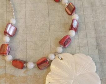 Shell Flower Necklace Earring Set, White Red