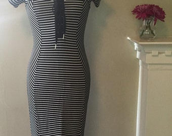 90s Striped Column Body Con Midi Dress w/ Lace-Up Bodice