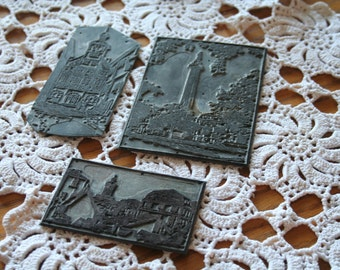 Set of Three Lead/Metal Darmstadt, Germany Printer Plates