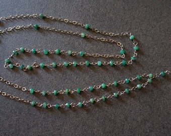 Emerald & Gold Rosary Style Necklace