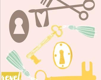 Key to My Heart Illustration Set