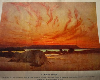 Vintage Print -A Windy Sunset - - vibrant color prints - Science Manual 1904 - Cassell's Popular Science
