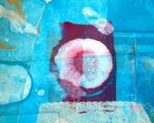 Contemporary Abstract Mixed Media Monoprint : RedEye