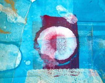 Contemporary Abstract Mixed Media Monoprint : RedEye