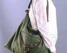 Sale 20%OFF-Ready To Ship-Green Tote Bag with adjustable strap/Mesengger bag/Shoulder Bag/Casual Bag/Handmade/School Bag/For Her/For Him-072