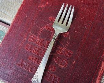 Vintage Heirloom Sterling Silver Damask Rose Baby Fork Flatware Silverware Relish Condiment Fork