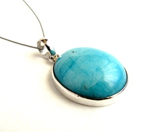 Turquoise Color Amazonite Pendant Sterling Silver Pendant With Natural Amazonite