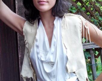 White Buckskin Leather Vest - Native American, Ceremonial Regalia, Deerskin Vest, Tribal Vest, Leather Clothing, Womens Vest, Size X-Small
