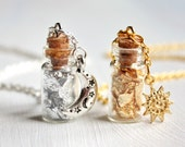 Sun and Moon vial necklaces, two bottles jewelries, glass, Gold and silver necklaces, charm, best friends gift, BFF, sisters