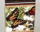 Passport Cover, Document Holder, Butterflies, Brown and Green