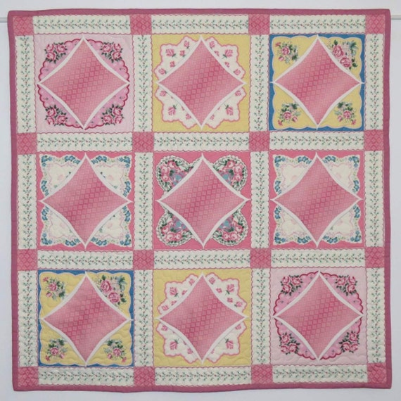 SALE: Quilted Wall Hanging or Table Topper, Faux Cathedral Window, Vintage-look Hanky Print Wall Quilt