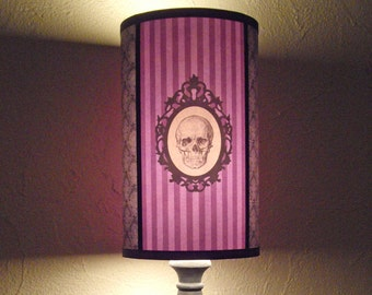 Baroque Skull Purple Lamp Shade Lampshade - pastel goth, skull lamp shade, gifts for her, purple lamp,goth,personalized colors ,gothic decor