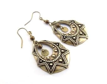 Large Bohemian Brass Earrings - Ox Plated  Embossed Hoop  Earrings - Brass Earrings - Big Earrings - Boho Earrings - Antique Brass - E048