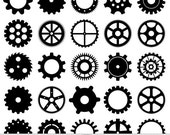 Cogs Clipart Vector Cogs Clip Art Steampunk Clipart Gears Clip Art Digital Scrapbooking Invitations Logo Silhouette Clipart Instant Download