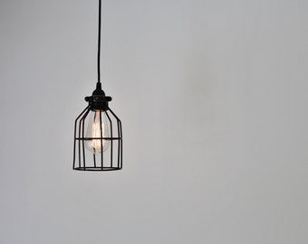 Black Cage Pendat Lamp, Industrial Hanging Light Fixture, BootsNGus Modern Home Lighting and Decor