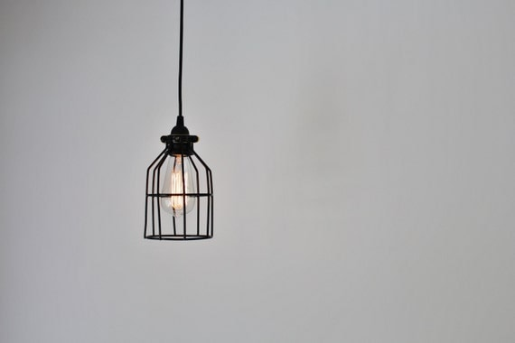 Cage noir pendat lampe luminaire suspension industrielle for Suspension luminaire cage