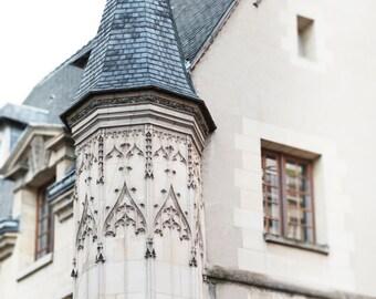 Paris Photography - Turret in le Marais, Paris Architecture, Neutral Urban Decor, French Decor, Large Wall Art