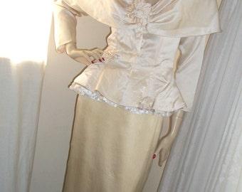 Vintage 1940s Style Cream Silk Wedding Dress Set Size Med Gorgeous Unique Absolutely Stunning Vintage 1980s Designer