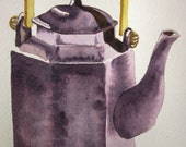 Aubergine and gold Asian influenced teapot -- original watercolour painting