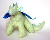 """Dragon Toy Stuffed Animal in Flannel Fabric, Green, Blue, Aqua and White 10"""" tall and 22"""" wide, Baby Friendly Toy for a Baby Girl"""