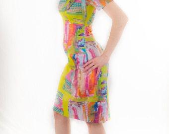 Fun body-con modern art neon typewriter printed dress