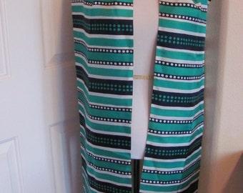 "Vintage Blue Green Striped Ladies Extra Long Fashion Scarf - 11"" x 88"" long"