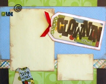 2 Page Kit Premade Scrapbooking Layout Boys Family Friends 12x12