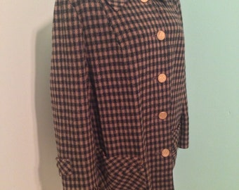 SALE! Vintage 60s Wool Coat // Vintage Checkered Coat // Wool Coat // Heavy Winter Coat // Size Large L
