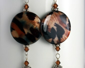 Tortoise Shell Disk with Brown Pearl Dangle Earrings