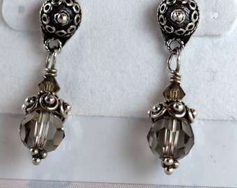 Dark Khaki Swarovski Crystal with Bali Beadcap Post Earrings