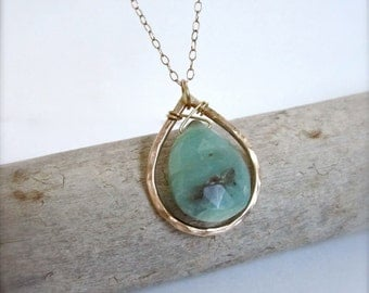 14k Gold Teardrop Opal necklace, turquoise gemstone necklace, gold necklace, anniversary gift, wedding jewelry, bridesmaid, boho necklace