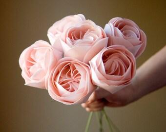 Single Juliet rose fabric flower - cotton anniversary gift, handmade for home decor + weddings, 2nd anniversary gifts, flower anniversary