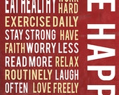 Be happy inspirational print, positive words art, typography poster