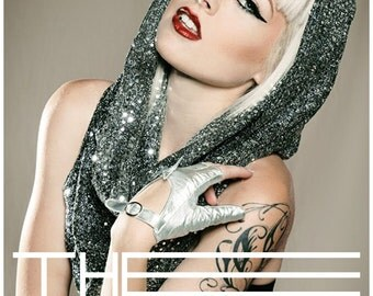 Dark silver sequin snood hood / scarf GaGa