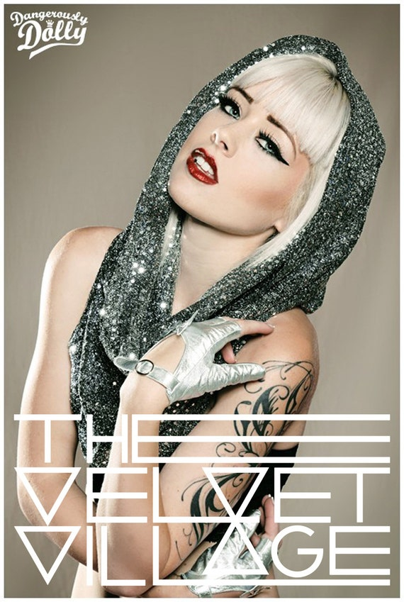 Dark silver sequin snood hood / scarf GaGa