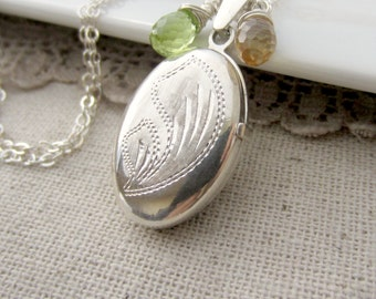 Silver Oval Locket, Vintage Sterling Silver Locket Necklace, Peridot Locket, August Birthstone Locket, Citrine Birthstone, Push Present