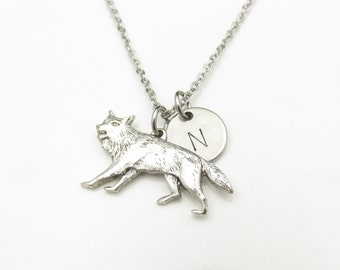 Werewolf Necklace, Silver Wolf Charm, Initial Necklace, Personalized Stamped Initial, Animals and Pets Charm, Monogram Necklace Y008