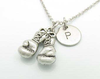 Boxing Gloves Necklace and Initial, Silver Boxing Glove Charm, Personalized Initial Necklace, Sports Charm, Stainless Steel Monogram (Y052)