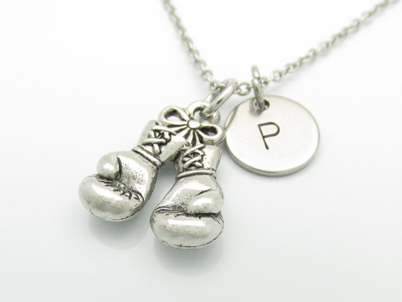 Boxing Gloves Necklace and Initial Silver Boxing Glove Charm